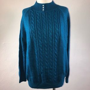 Karen Scott Cable Knit Mock-Neck Sweater Teal XL